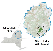 Wilcox Lake Wild Forest locator map