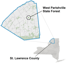 West Parishville State Forest Locator Map
