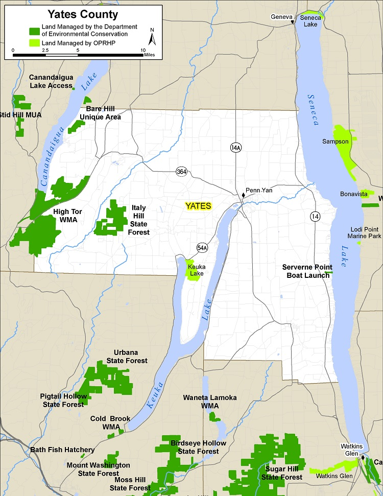 Map of Yates County showing State owned lands open to public recreation