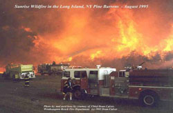 Fire engines with a background of walls of flame from the 1995 Sunrise Fire in Long Island