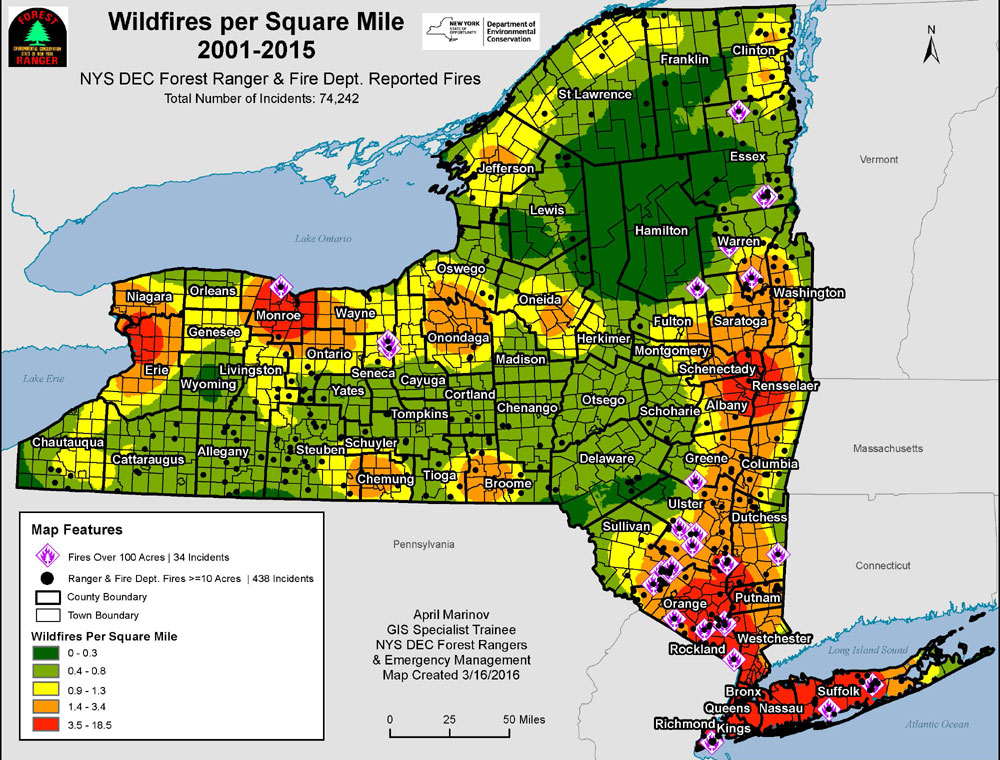 Map Of Wildfires As Reported By NYS Forest Rangers And Fire - Map of new york state