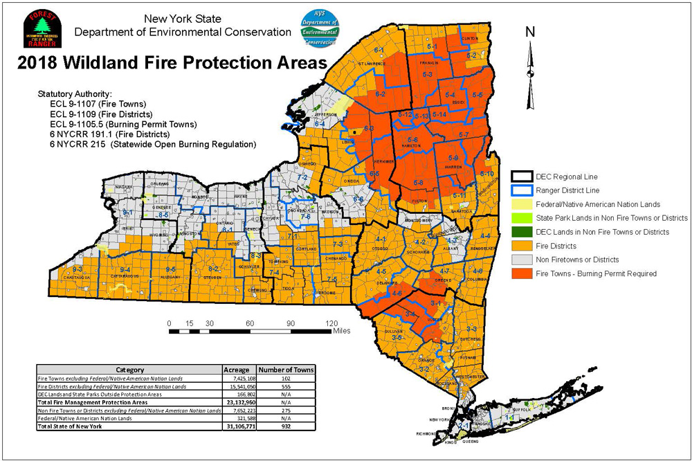 nys map showing wildland fire protection areas under statutory authority