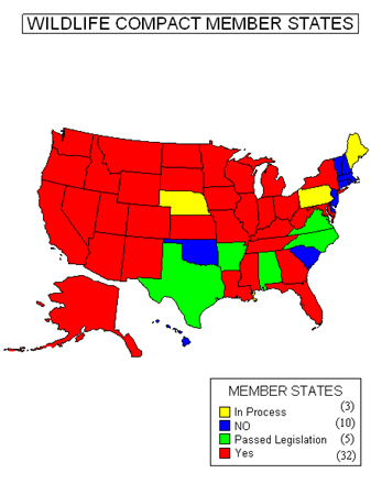 US map showing Wildlife Compact member states by color