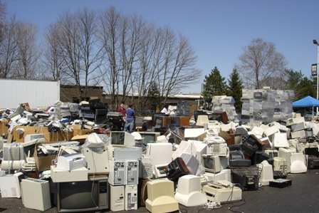 Used electronic equipment at a collection event.