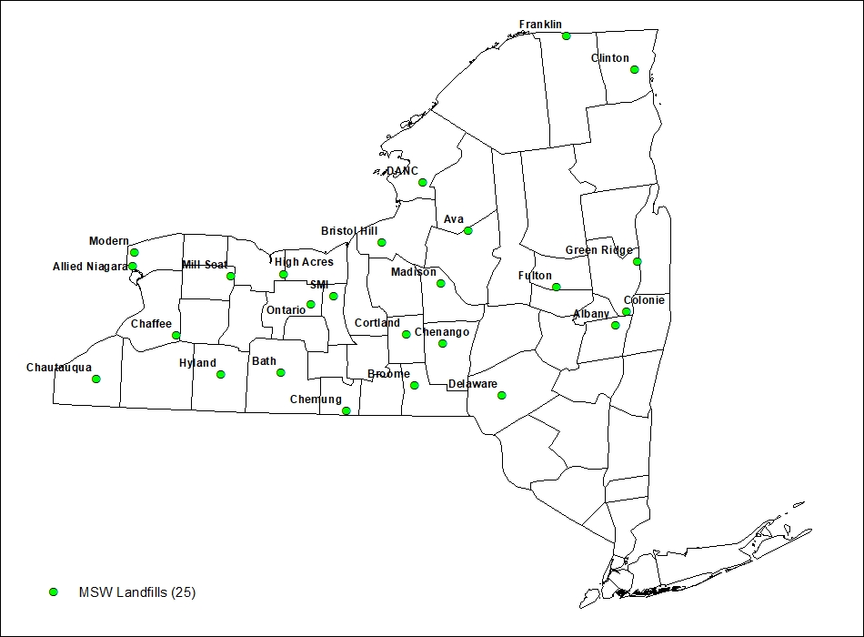 Active MSW Landfills in New York State Map