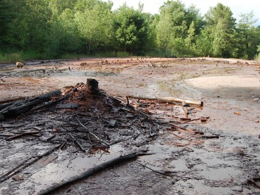 The area surrounding the Stoklos & Cisek 1 well is destroyed. All nearby vegetation has died due to the brine leak.