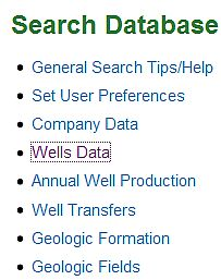 Photo of Wells Data Screen, where you will begin your search