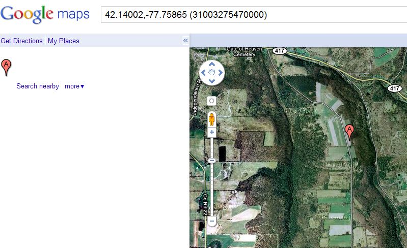View Map hyperlink. Shows well location with latitude and longitude