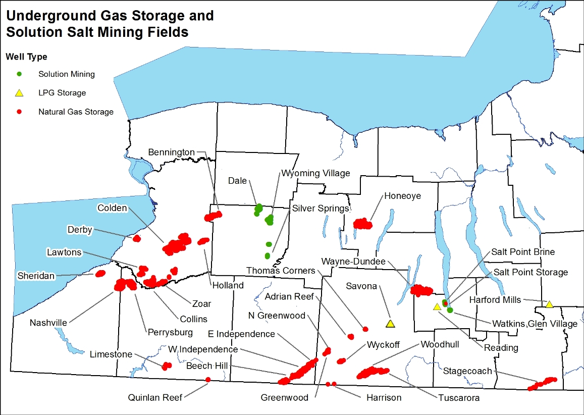 Map showing locations of underground gas storage and solution salt mining fields in New York State