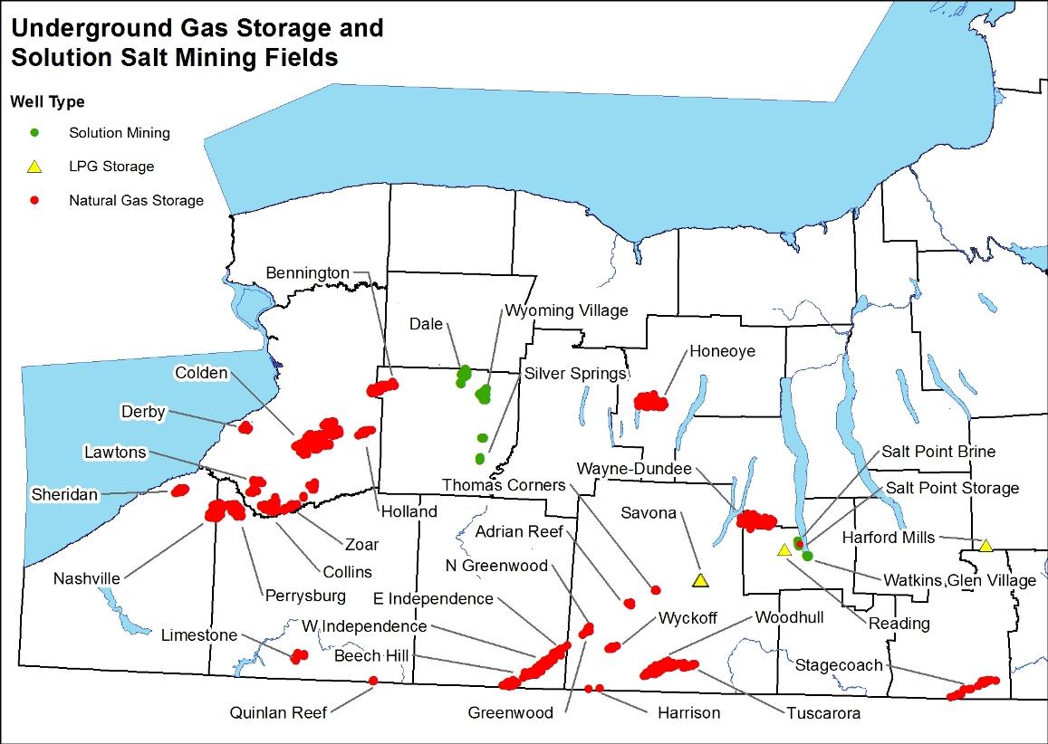 Underground Gas Storage And Solution Mining Fields Map
