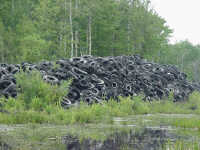 picture of a tire stockpile at the Fortino site