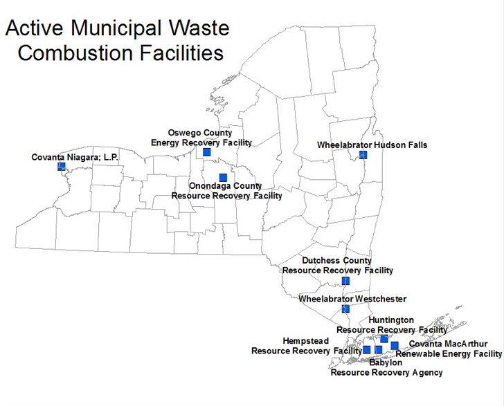 A New York State Map showing the locations of municipal waste combustion facilities