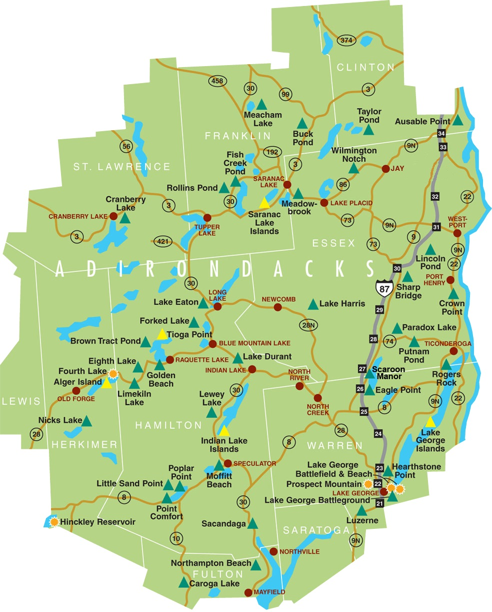Adirondack Park Campground Map NYS Dept Of Environmental - New york map mountains