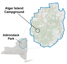 alger island campground location map