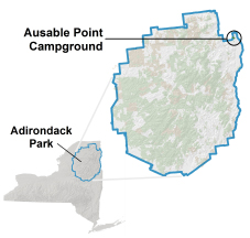 ausable point campground location map
