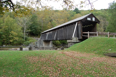 the covered bridge in early fall