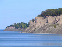 Chimney Bluffs - eroded remains of drumlins on the shore of Lake Ontario