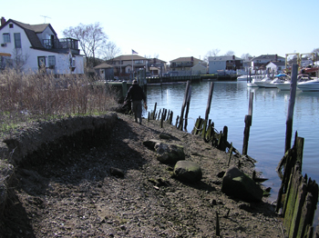 waterfront with wooden stakes to prevent erosion