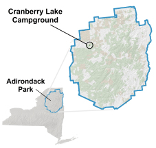 Cranberry Lake map and location in the Adirondacks