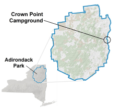 crown point campground location map