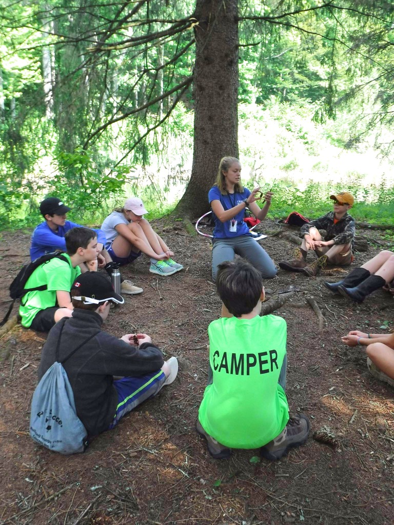 Campers sit in a circle around their counselor beneath a large spruce tree and learn forest ecology