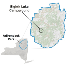 eighth lake campground location map