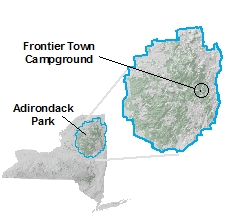 Frontier Town location on map of new york state