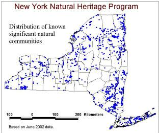 Map of New York showing significant natural communities