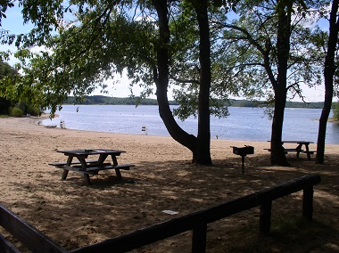 View of the beach at Hinckley Reservoir