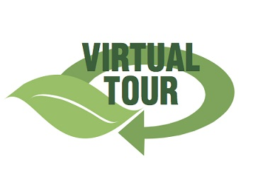Virtual Tour logo with a leave and arrow