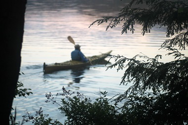 kayaker through the trees