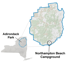 northampton beach campground location map