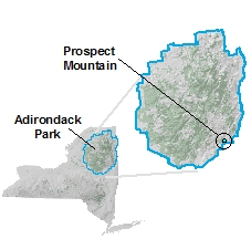 Map of Prospect Mountain location in NY State