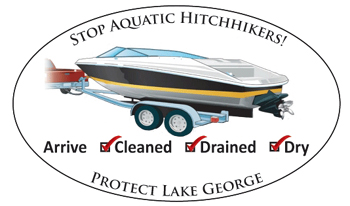 Stop Aquatic Hitchhikers, protect Lake George sign with a boat