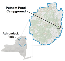 putnam pond campground location map