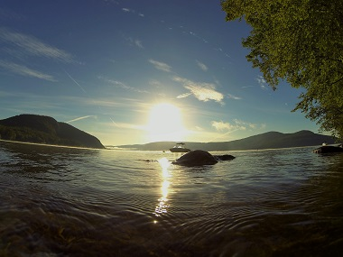 Magnificent sunset at the rogers rock campground in lake george, shot with a fisheye lens