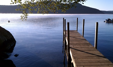 a dock leading out over the water