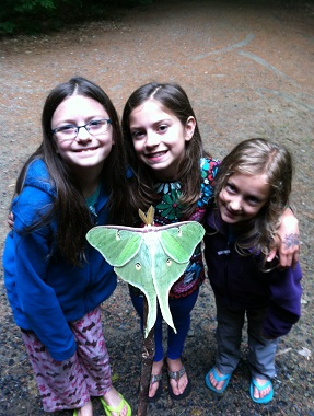 three girls showing off a lunar moth