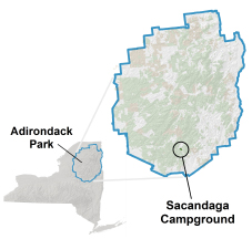 sacandaga campground location map