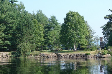 a view of the campground from the water