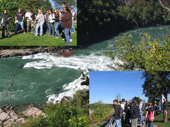The entrance of the Niagara River into the Whirlpool with the last indication of the Whirlpool Rapids.
