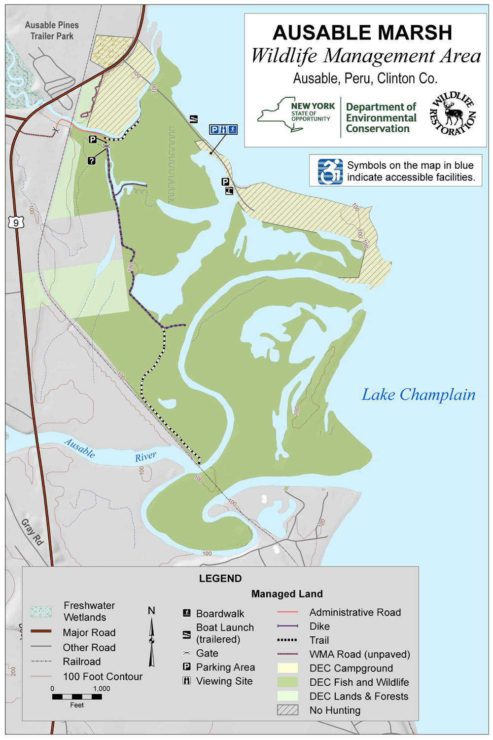 Map of the Ausable Marsh Wildlife Management Area