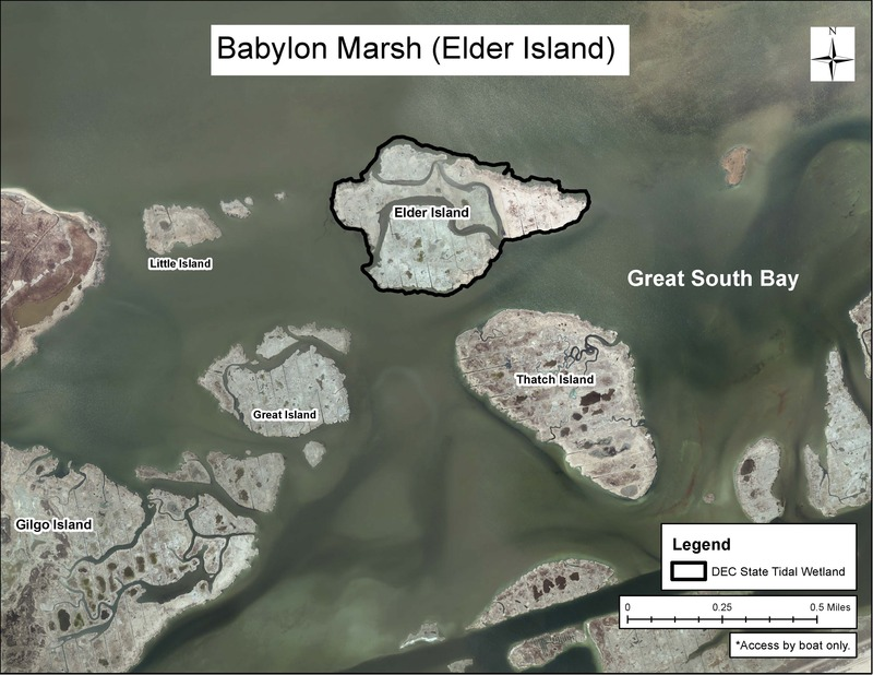 Map of Babylon Marsh State Tidal Wetlands