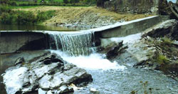 Sea lamprey barrier dam on a stream.