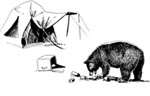 Illustration of bear eating contents of a cooler.