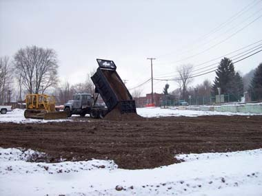 Excavation backfilled with clean soil