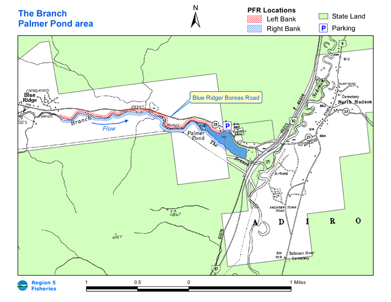 Map depicting the streambank of The Branch and the shoreline of Palmer Pond open to public fishing.