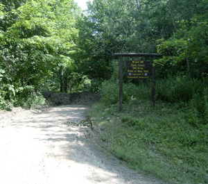 Sign at entrance to Bryant Hill State Forest