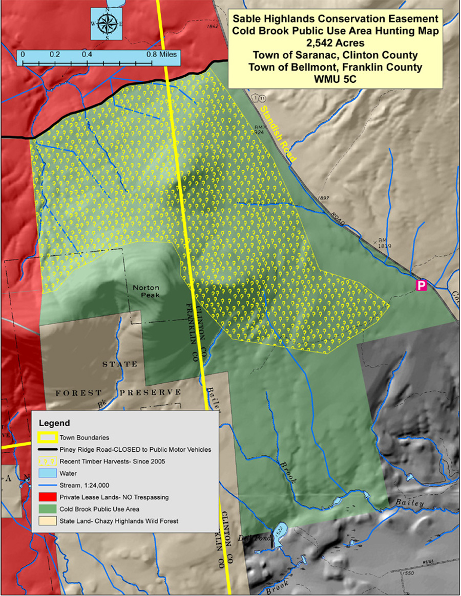 Map of the recreational infrastructure and timber harvest area in the Cold Brook Public Use Area