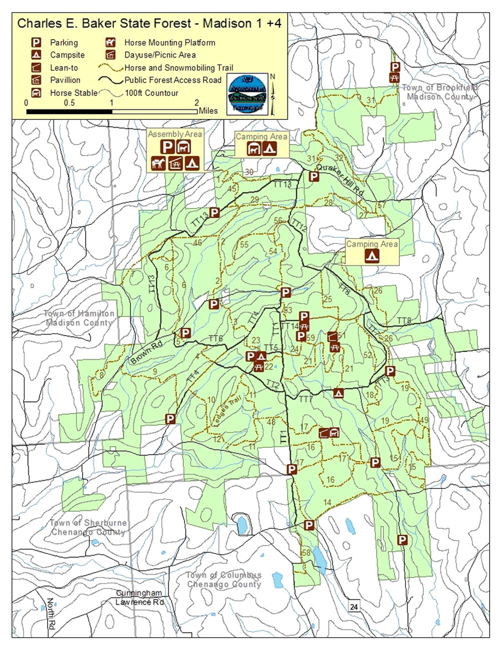 Charles Baker State Forest topographic map